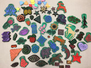 60+ pc Used Chunky Foam Stamp Lot Christmas, Leaves, Animals, Flowers & More!