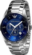 NEW EMPORIO ARMANI AR5860 MENS STEEL CHRONOGRAPH WATCH - 2 YEAR WARRANTY