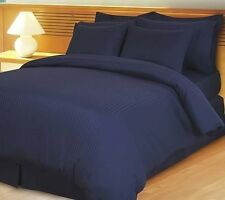 Duvet Set + Fitted Sheet King Size Navy Blue Stripe 1000 TC 100%Egyptian Cotton