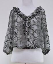 c552f29a413f14 ZARA Women's Gray Cropped Semi-Sheer Blouse Top Shirt 3/4 Sleeves Size S