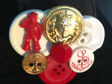 Vintage Cracker Jack Character Anchor Buttons Red & White. Hand Made Pin Brooch