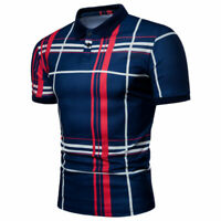 Men Luxury Casual Stylish Slim Blouse Short Sleeve Casual Dress Shirts Tops New