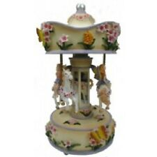 "FLORAL  MUSICAL CAROUSEL  26CMS/ 10""  PLAYS THE CAROUSEL WALTZ GIFT PRESENT BNIB"