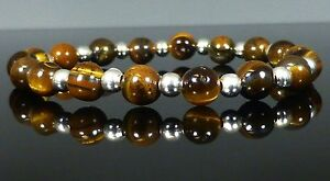 STERLING SILVER TIGERS EYE BRACELET - Made to measure