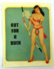 """Vintage~Original~1940""""s~Pinup~Glamour Girl Series~""""Out For A Buck""""~Water Decal"""
