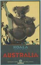 Vintage Travel Poster Koala Native Bear Australia