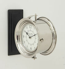 """12"""" Silver Round Double Sided Metal Wall Clock Industrial Nautical Decor"""