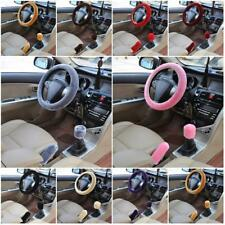 3Pcs Soft Steering Wheel Cover Fuzzy Wool Velvet Car Winter Warmer Set