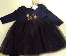 baby dress 0-3 months Mini Moi cute blue gold sparkle elephant & flowers new tag