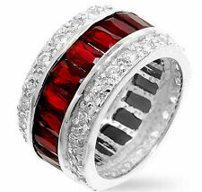 Glam 925 Sterling Silver Eternity Garnet Red Band Cubic Zirconia Encrusted Ring