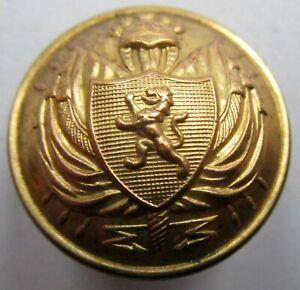 Bouton bombé en métal doré :Militaire Belgique au lion, (Général?), de 22 m