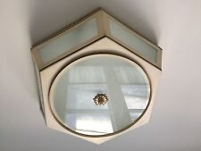 Hand Painted Toleware Cream and Brn/Blk accents Ceiling Mount Lighting Fixture