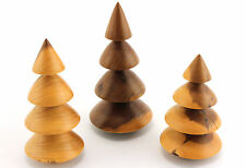 3 x turned wooden trees. Miniature. Yew. Dolls house interest. Craft. Hand made