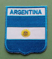 NATIONAL FLAG COUNTRY SHIELD SEW ON / IRON ON EMBROIDERED PATCH:- ARGENTINA