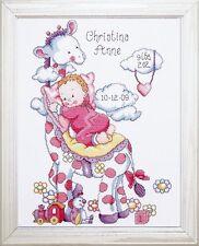 DESIGN WORKS - TOBIN BABY - GIRAFFE BABY GIRL SAMPLER CROSS STITCH KIT (T21733)