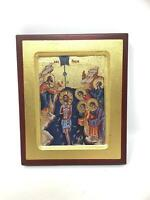 Baptism of Jesus Christ Picture Hanging Icon Style Religious Wall Plaque Decor