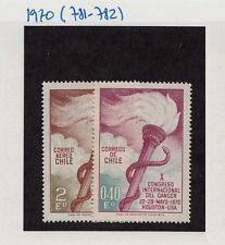 CHILE 1970 STAMP # 781/2 MNH MEDICINE CANCER