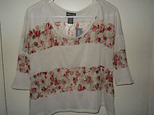 Wet Seal Ladies Shirt Size Small Ivory with Floral Lace Inserts NWT