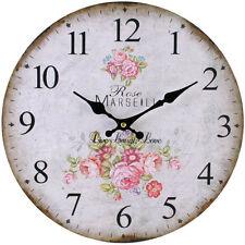 Reloj De Pared Vintage Estilo Francés Shabby Chic Floral Rosa-Nuevo En Caja