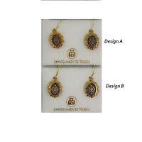 Damascene Gold Oval Geometric Drop Earrings by Midas of Toledo Spain style 8105G