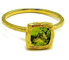 18K Yellow Gold and Genuine Peridot Square Solitaire Stackable Ring