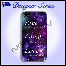 For iPhone 4 / 4S case hard cover Live Laugh Love Purple Galaxy 50