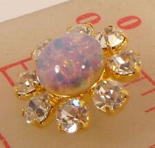 "1 gold metal Czech rhinestone shank buttons glass fire opal center 3/4"" 20mm 690"