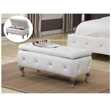 Foot Of Bed Storage Bench Upholstered Tufted White Faux Leather Seat Furniture