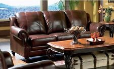 Princeton Traditional Sofa 100% Genuine Burgundy Leather Living Room Couch
