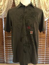 Men's VGUC FOX XL Extra Large Dark Gray  3 Button Polo Racing Shirt