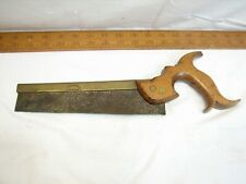 Antique James Hickey Brass Back Hand Saw Dovetail English Wood Tool Early Handle