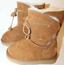 NWT Flurries Suede Brown Leather Boots Winter Sz 8 Sheep Skin Lining Girl Kid