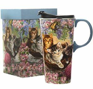 CEDAR HOME Travel Coffee Ceramic Mug Porcelain Latte Tea Cup With Lid 17oz. F...
