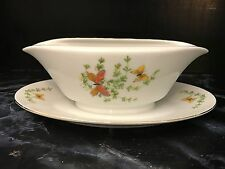 Shafford Ecstasy GRAVY BOAT DISH Butterflies Fine China Serving Butterfly
