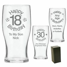 Engraved Pint Beer Glass 16th 18th 21st 30th Birthday Gift - Personalised - GB