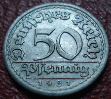 1921-F GERMANY 50 PFENNIG IN EF CONDITION