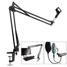 Desk Microphone Arm Stand Mic Stand Shock Mount Adjustable Boom Studio Black UK