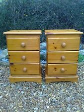 A Pair of Solid  Pine Three Drawer Bedside Chests