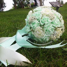 """Handmade"" Wedding Rose Flower Bridal Bouquet Brooch Pearls Bouquets Silk Ribbon"