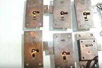 6 FLUSH lock cupboard solid brass keys heavy works door vintage style 76mm locks