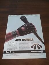 """1990 VINTAGE PRINT AD for BEYER DYNAMIC MICROPHONE """"ARM YOURSELF"""" studded glove"""