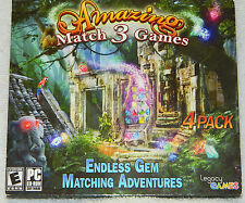 Amazing Match 3 Games Endless Gem Matching Adventures 4 Pack (PC 2013) new