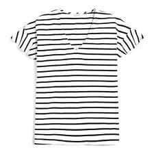 J Crew Women's Striped Flutter Sleeve V Neck T Shirt Ivory Navy Blue Size Large