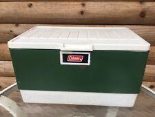 Vintage 70s 80s Coleman Green Metal Cooler w/ Tray Minor Rust