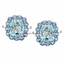 Natural Blue Topaz & Tanzanite Gemstones 925 Sterling Silver Cufflinks For Men's
