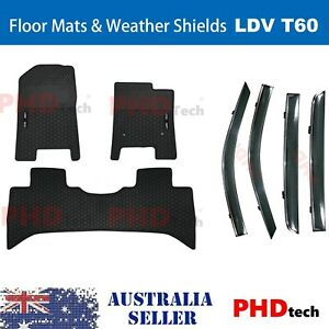 All Weather Rubber Floor Mats+Weather Shield Combo LDV T60 LUXE PRO 2017-2021