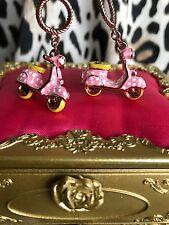 Betsey Johnson 60's Mod Retro GIRL POWER Pink Polka Dot Scooter Vespa Earrings