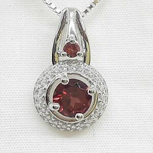 Genuine 1.15ctw Garnet & Diamond Cut White Sapphire 925 Sterling Silver Pendant