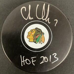 Chris Chelios Signed Puck Chicago Blackhawks Hockey Auto HOF 2013 Insc PSA/DNA