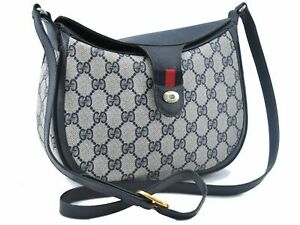 Auth GUCCI Sherry Line Shoulder Cross Body Bag GG PVC Leather Navy Blue E2934